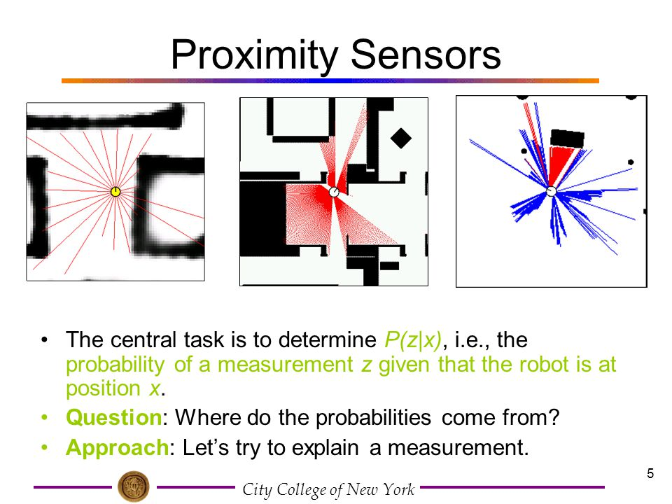 Proximity Sensors The central task is to determine P(z|x), i.e., the probability of a measurement z given that the robot is at position x.