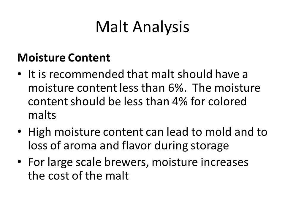 Malt Analysis Moisture Content