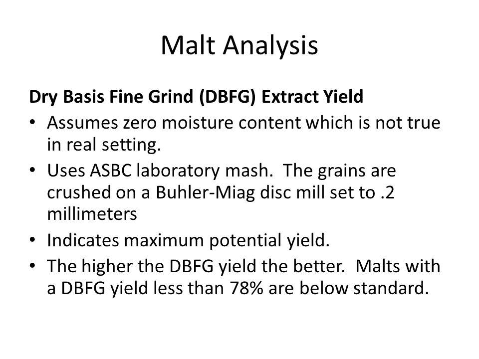 Malt Analysis Dry Basis Fine Grind (DBFG) Extract Yield