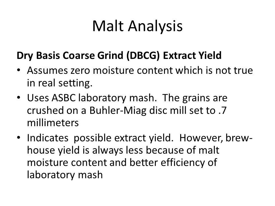 Malt Analysis Dry Basis Coarse Grind (DBCG) Extract Yield