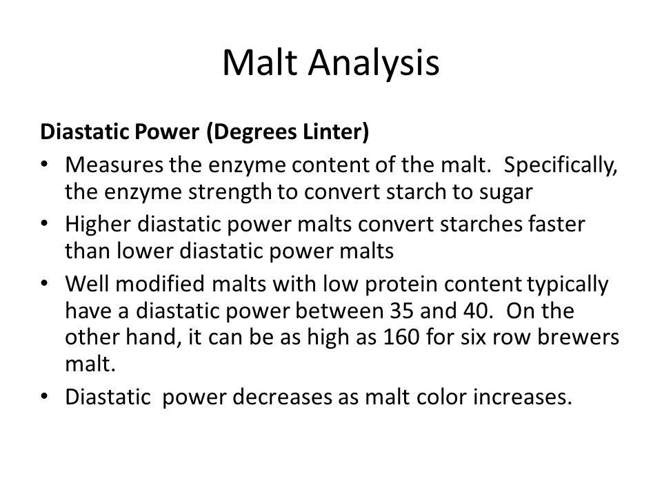 Malt Analysis Diastatic Power (Degrees Linter)