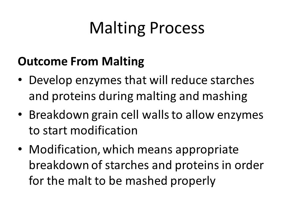 Malting Process Outcome From Malting
