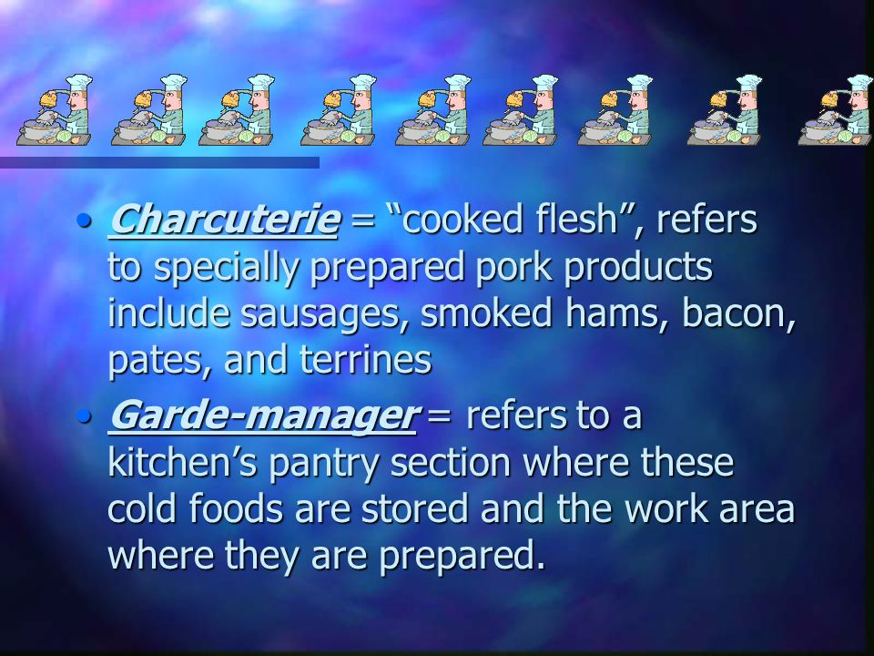 Charcuterie = cooked flesh , refers to specially prepared pork products include sausages, smoked hams, bacon, pates, and terrines