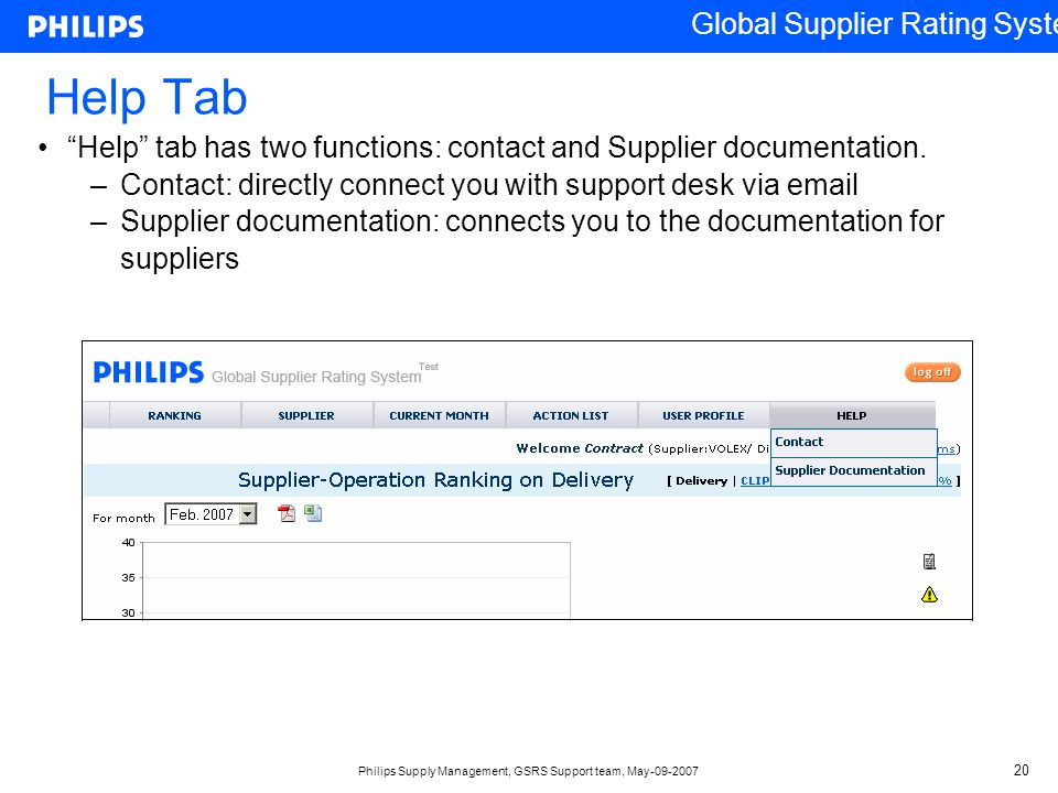 Help Tab Help tab has two functions: contact and Supplier documentation. Contact: directly connect you with support desk via email.