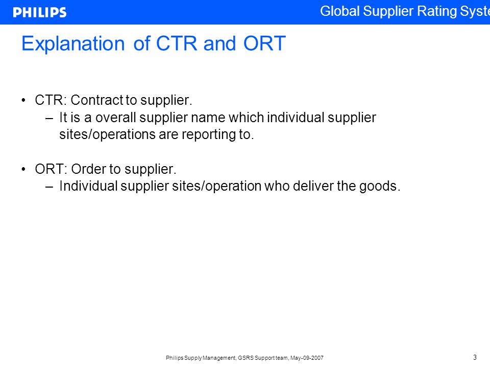 Explanation of CTR and ORT