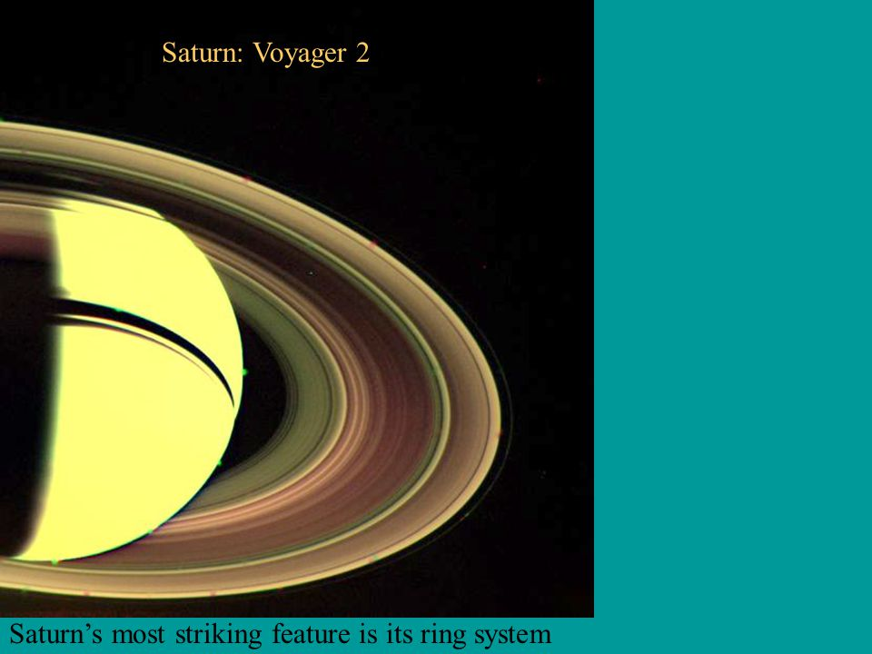 Saturn: Voyager 2 Saturn's most striking feature is its ring system