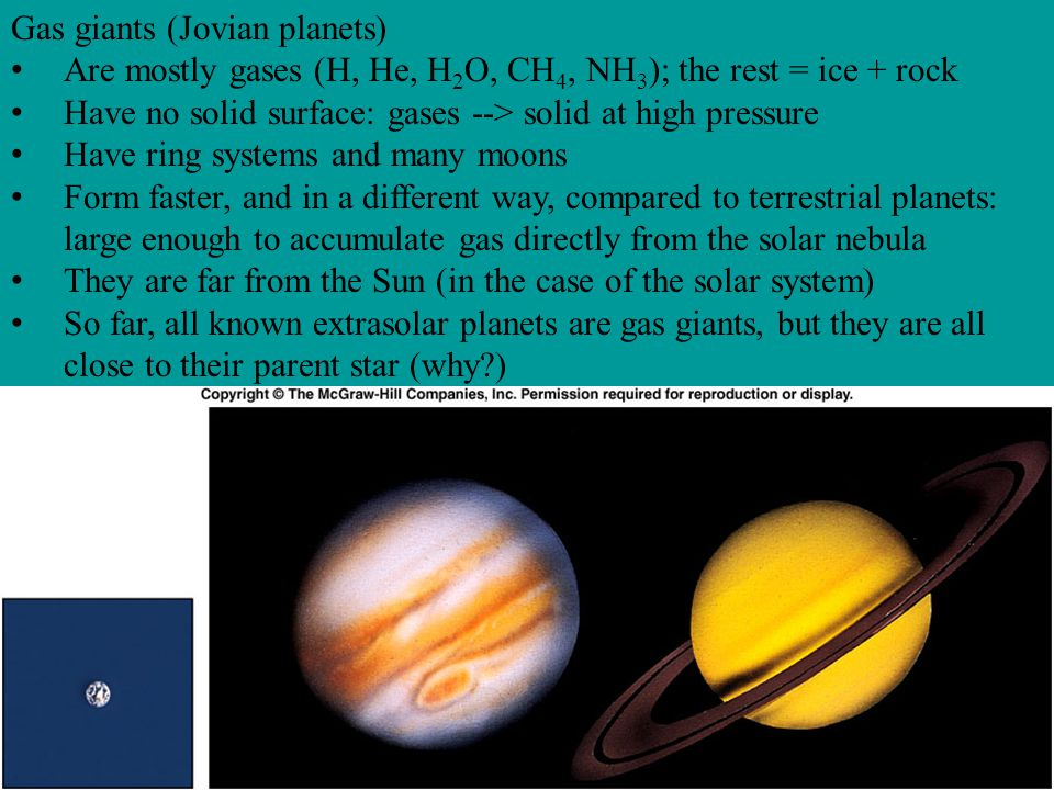 Gas giants (Jovian planets)