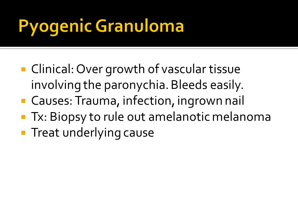 Pyogenic Granuloma Clinical: Over growth of vascular tissue involving the paronychia. Bleeds easily.