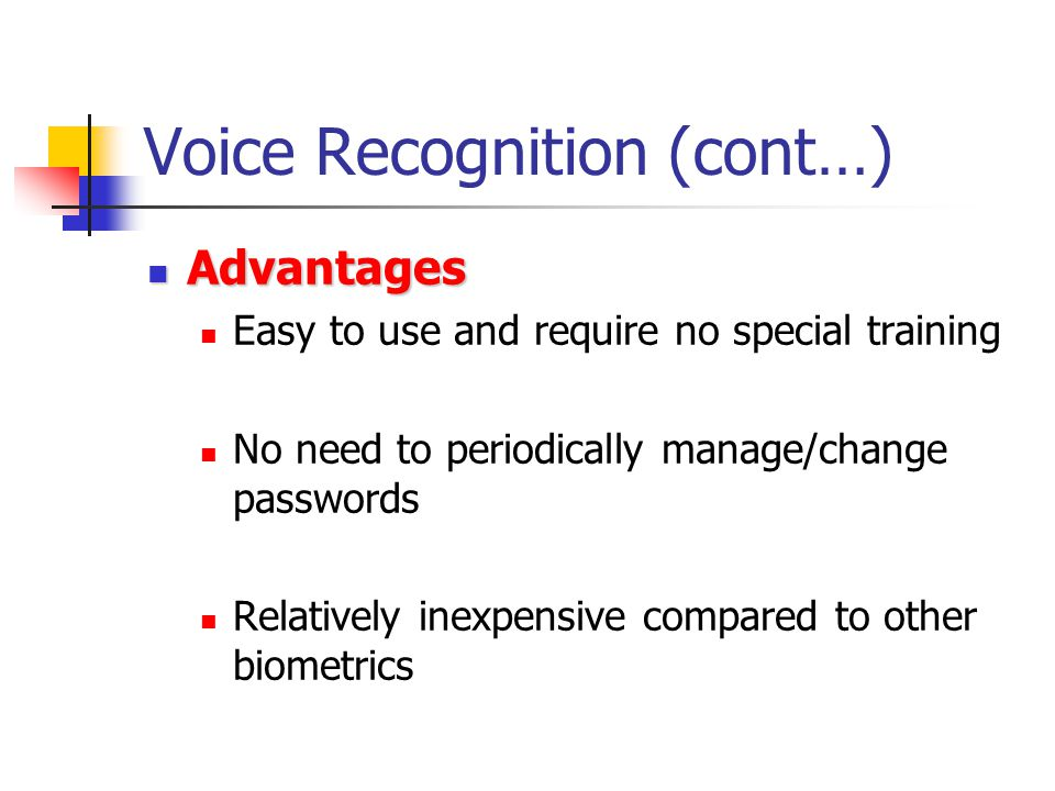Voice Recognition (cont…)