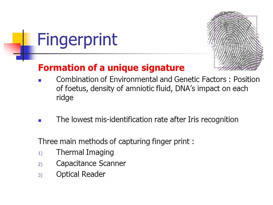 Fingerprint Formation of a unique signature