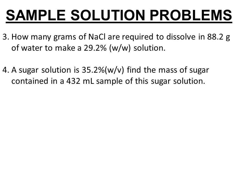 SAMPLE SOLUTION PROBLEMS