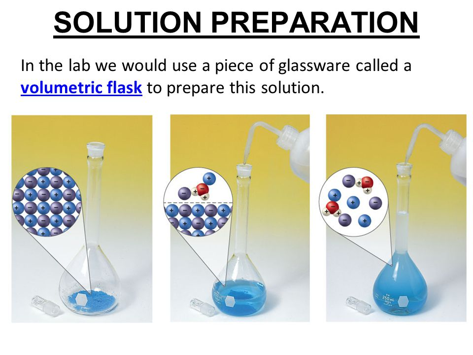 SOLUTION PREPARATION In the lab we would use a piece of glassware called a volumetric flask to prepare this solution.