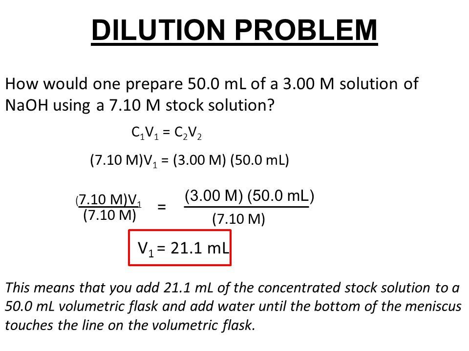 DILUTION PROBLEM How would one prepare 50.0 mL of a 3.00 M solution of NaOH using a 7.10 M stock solution