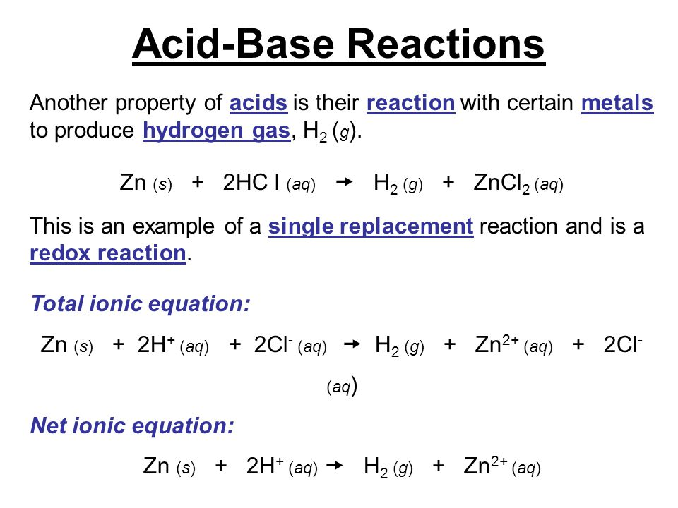 Acid-Base Reactions Another property of acids is their reaction with certain metals to produce hydrogen gas, H2 (g).