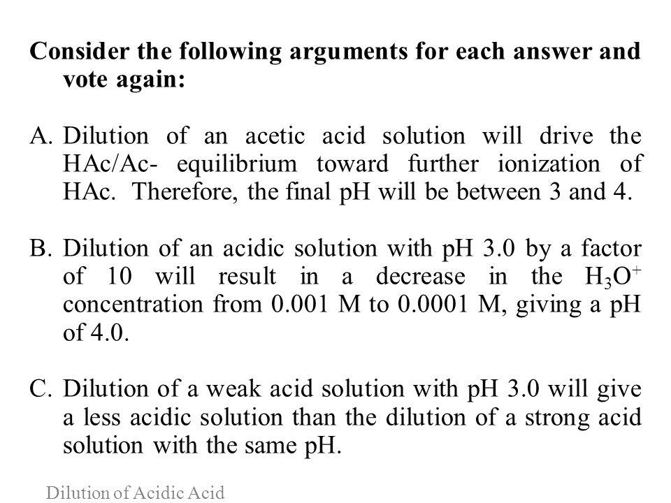 Dilution of Acidic Acid