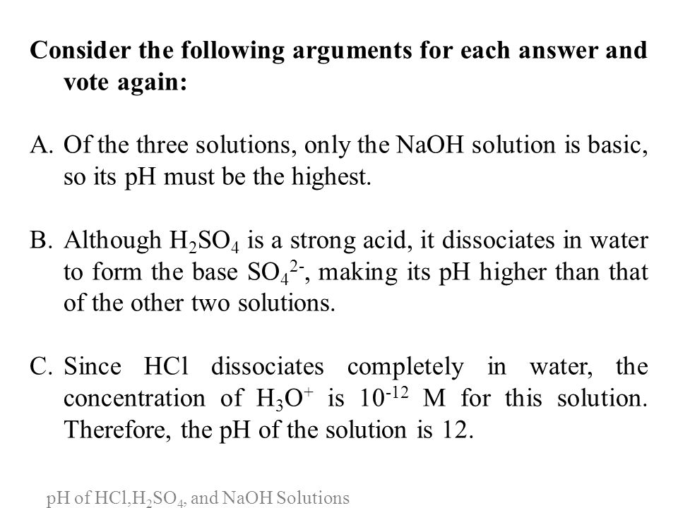 pH of HCl,H2SO4, and NaOH Solutions