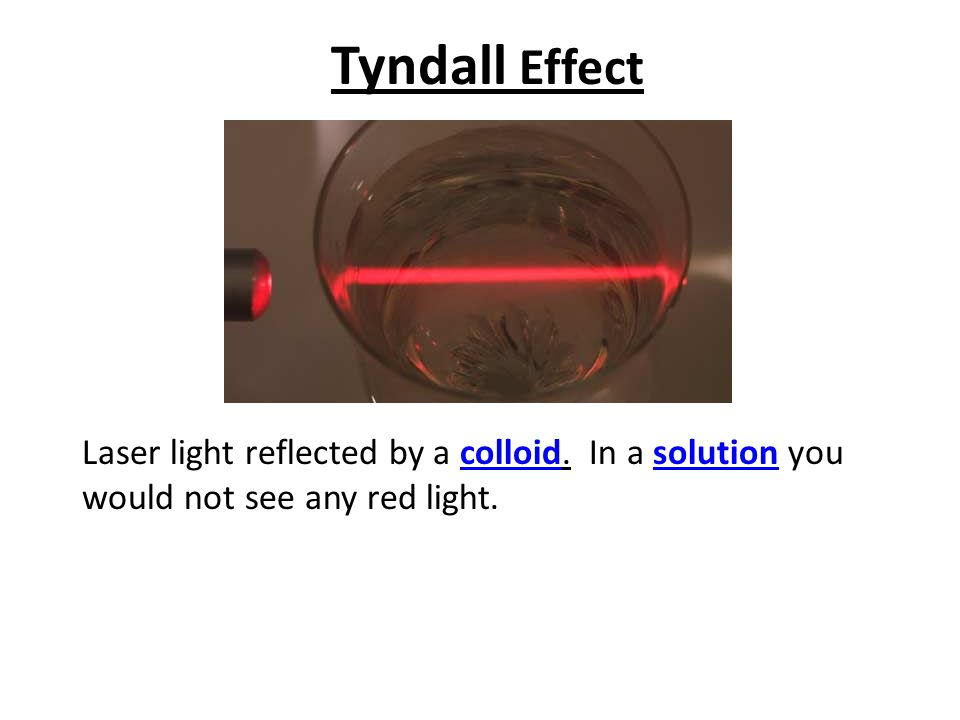 Tyndall Effect Laser light reflected by a colloid. In a solution you would not see any red light.