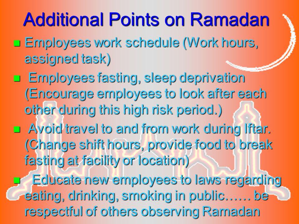Additional Points on Ramadan