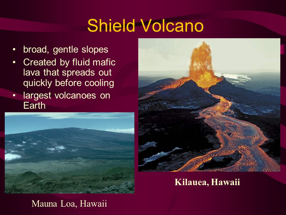 Shield Volcano broad, gentle slopes