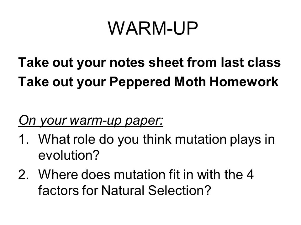WARM-UP Take out your notes sheet from last class