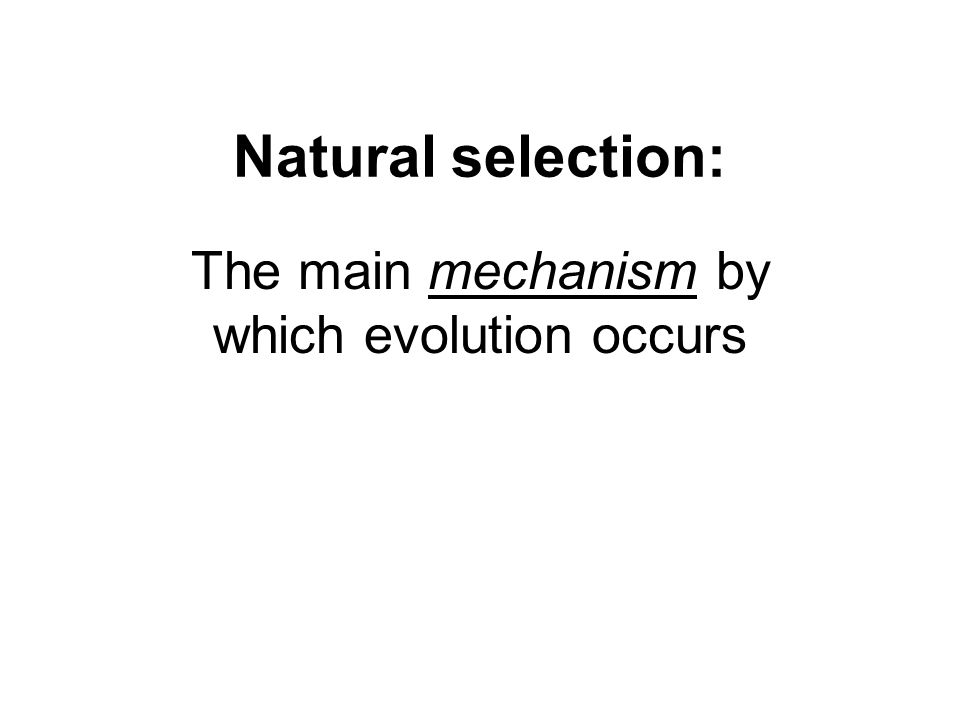 The main mechanism by which evolution occurs
