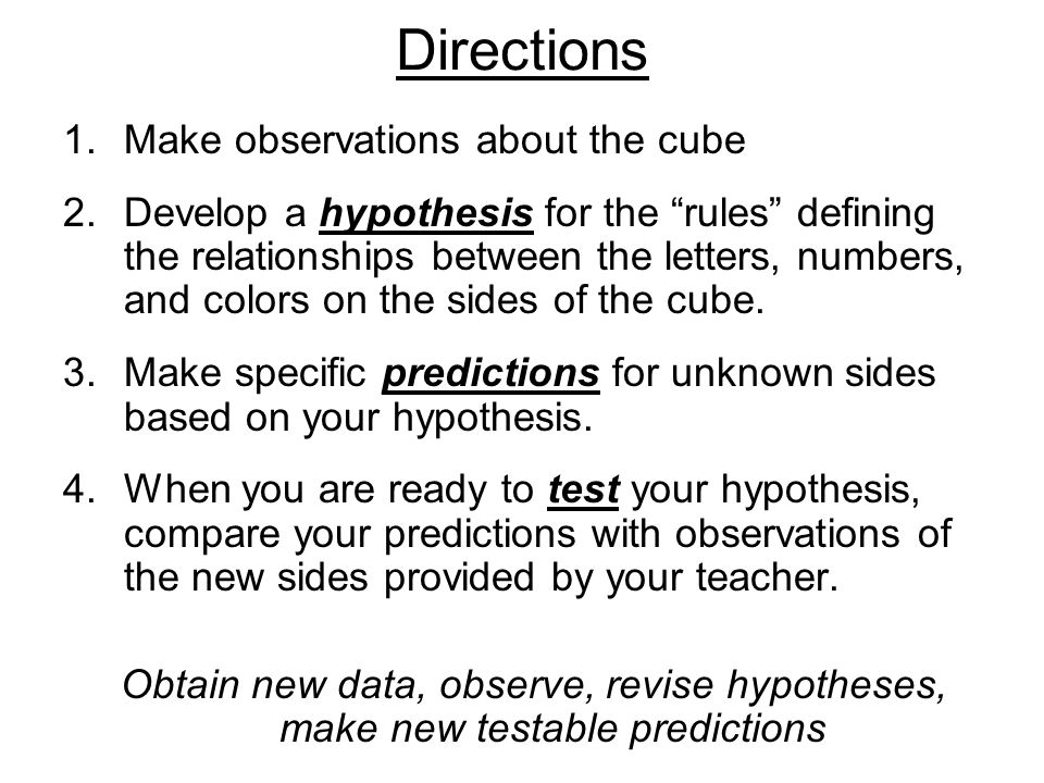 Directions Make observations about the cube