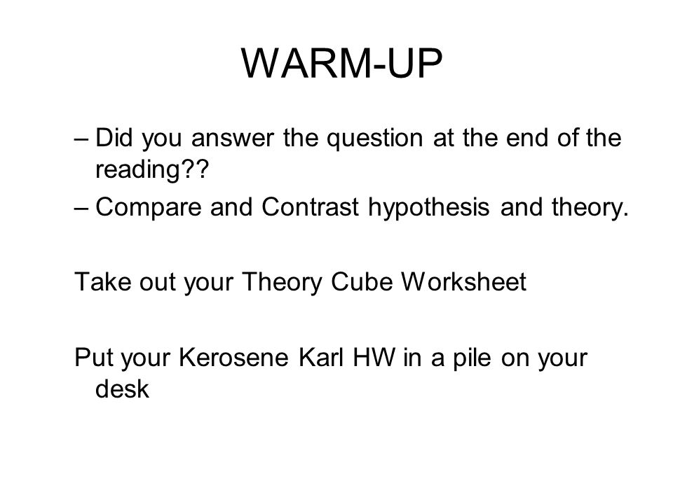 WARM-UP Did you answer the question at the end of the reading