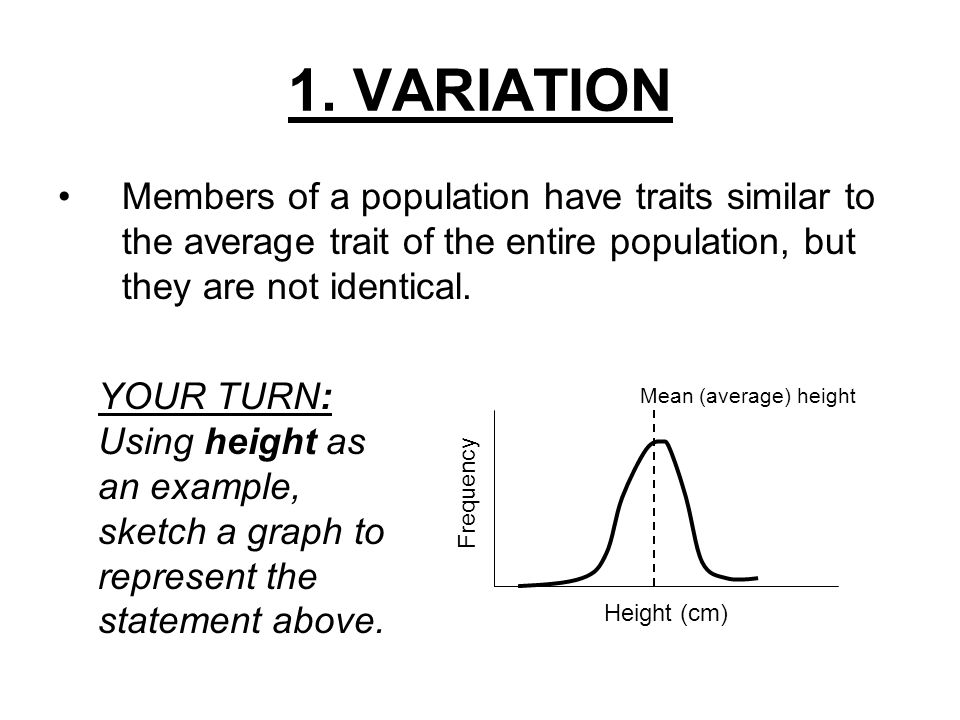 1. VARIATION Members of a population have traits similar to the average trait of the entire population, but they are not identical.