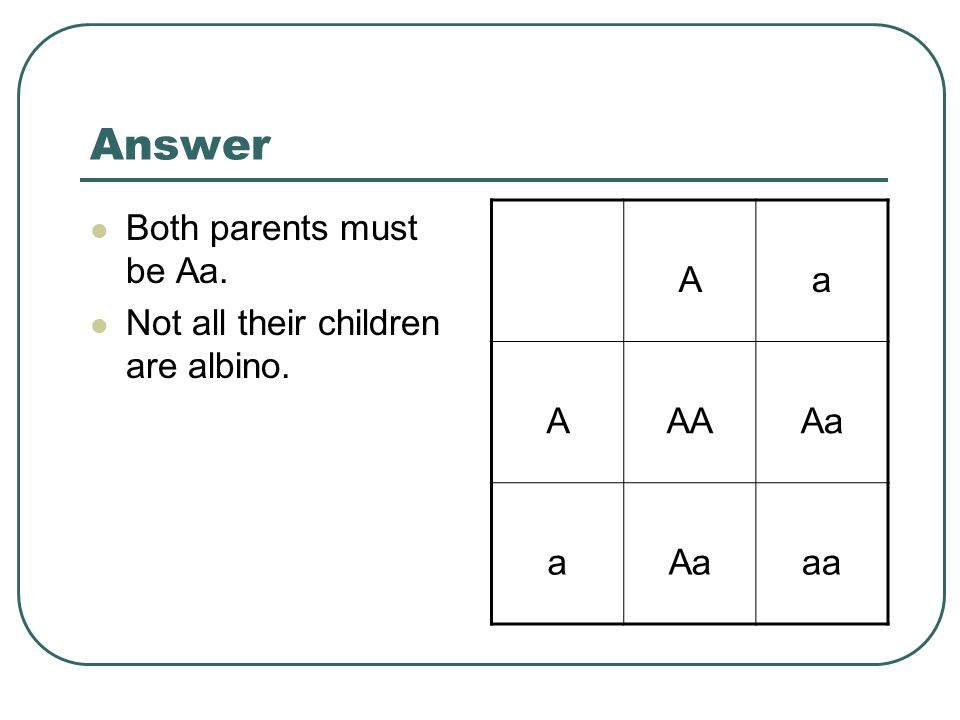 Answer Both parents must be Aa. Not all their children are albino. A a