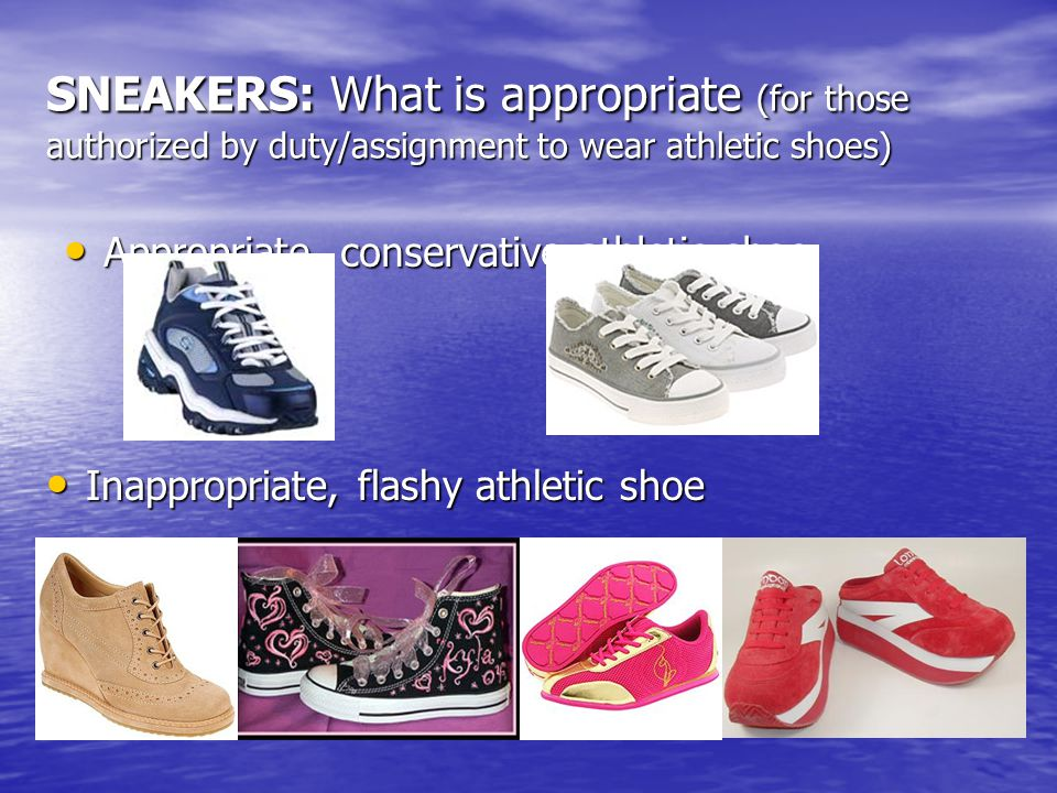 SNEAKERS: What is appropriate (for those authorized by duty/assignment to wear athletic shoes)
