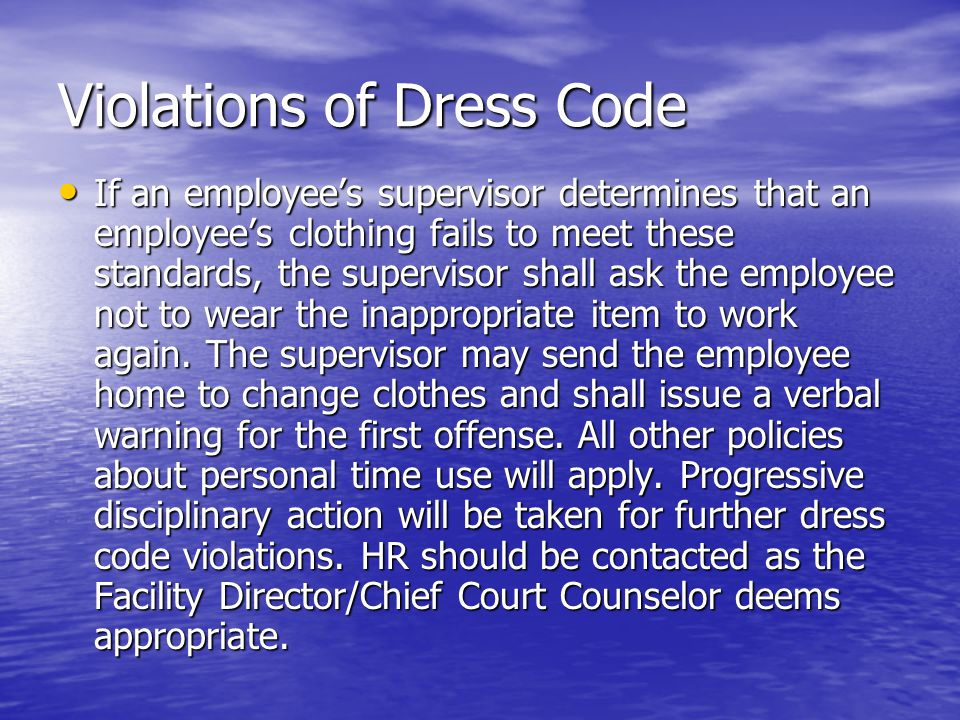 Violations of Dress Code