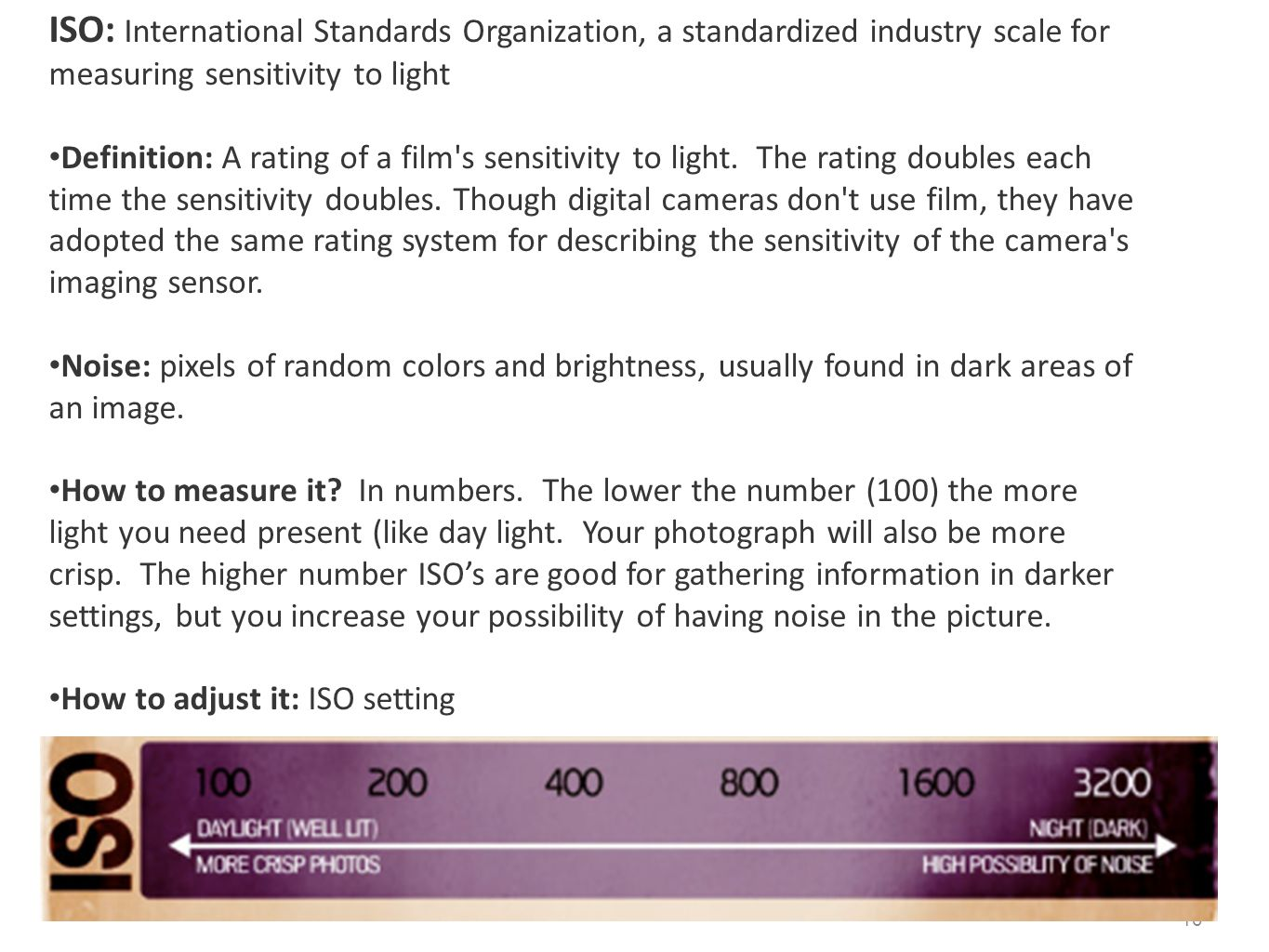 ISO: International Standards Organization, a standardized industry scale for measuring sensitivity to light