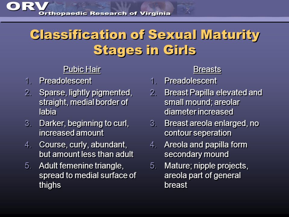 Classification of Sexual Maturity Stages in Girls