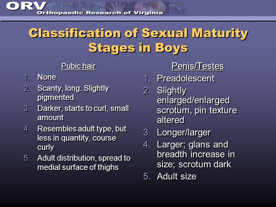 Classification of Sexual Maturity Stages in Boys