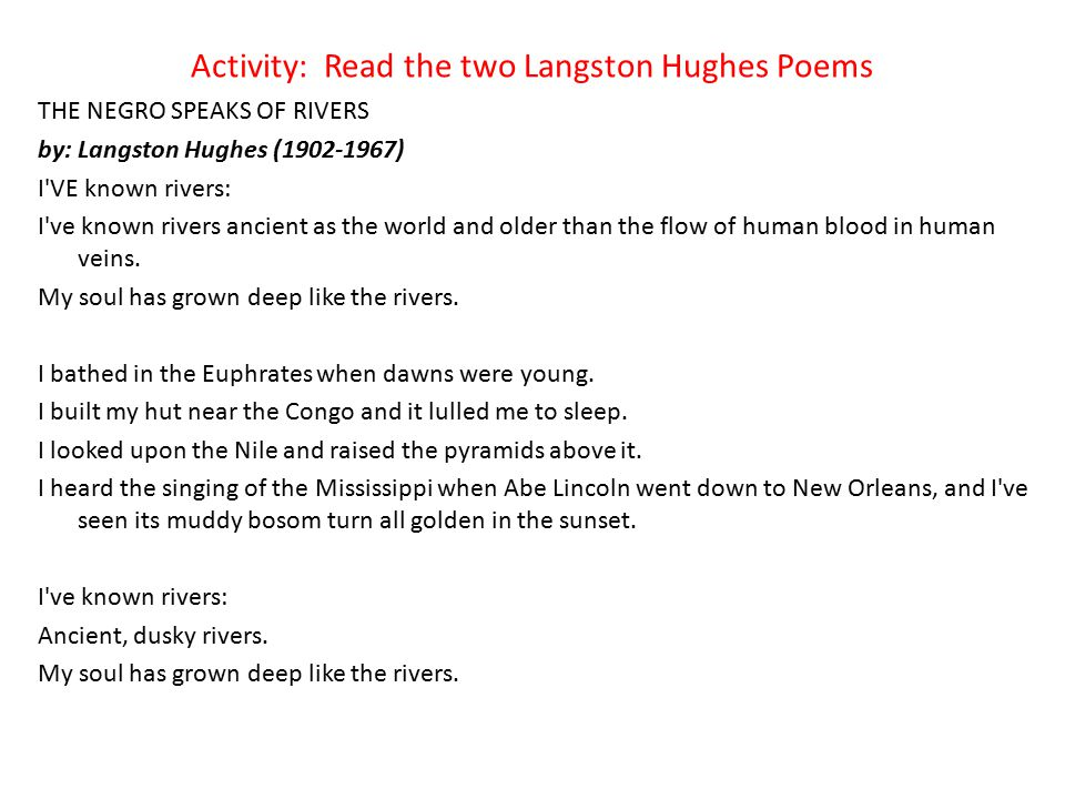 Activity: Read the two Langston Hughes Poems