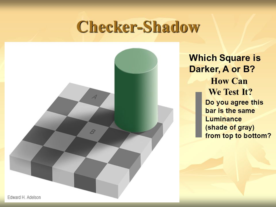 Checker-Shadow Which Square is Darker, A or B How Can We Test It