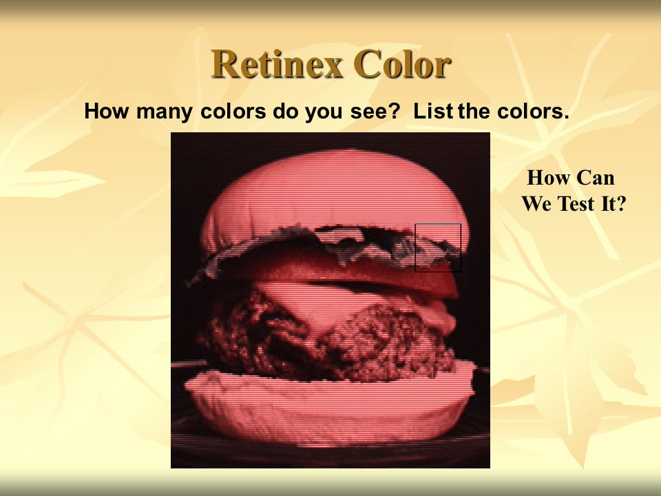 Retinex Color How many colors do you see List the colors. How Can