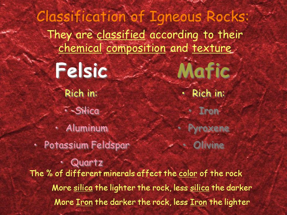 Felsic Mafic Classification of Igneous Rocks: