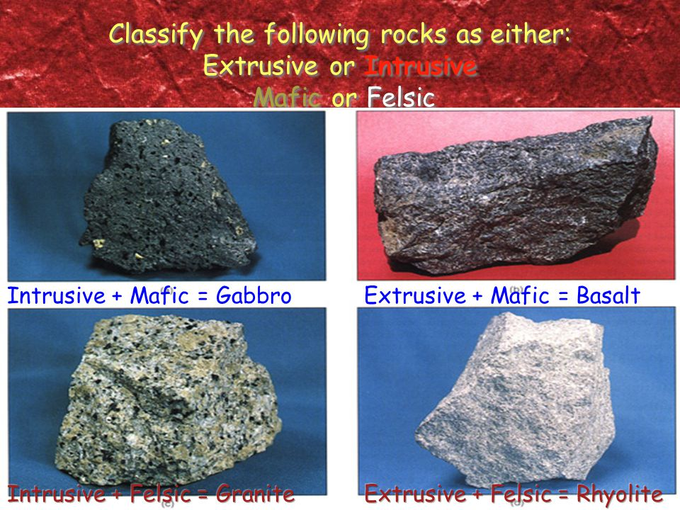 Classify the following rocks as either: Extrusive or Intrusive Mafic or Felsic