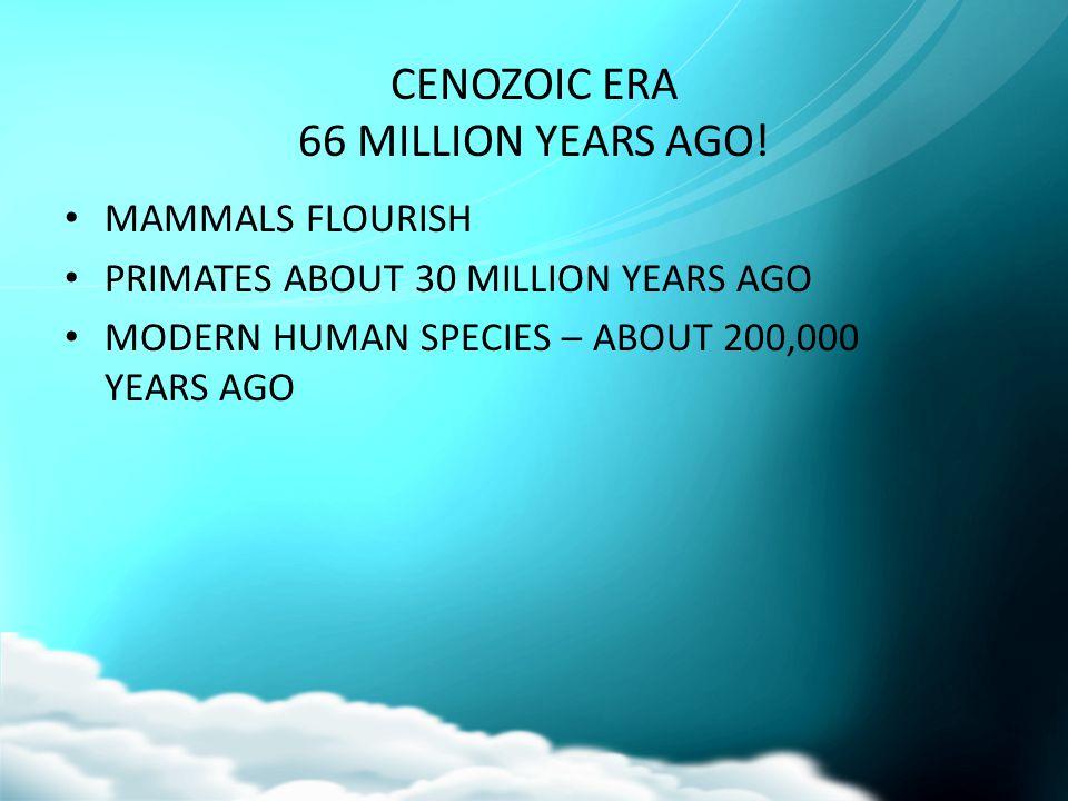 CENOZOIC ERA 66 MILLION YEARS AGO!