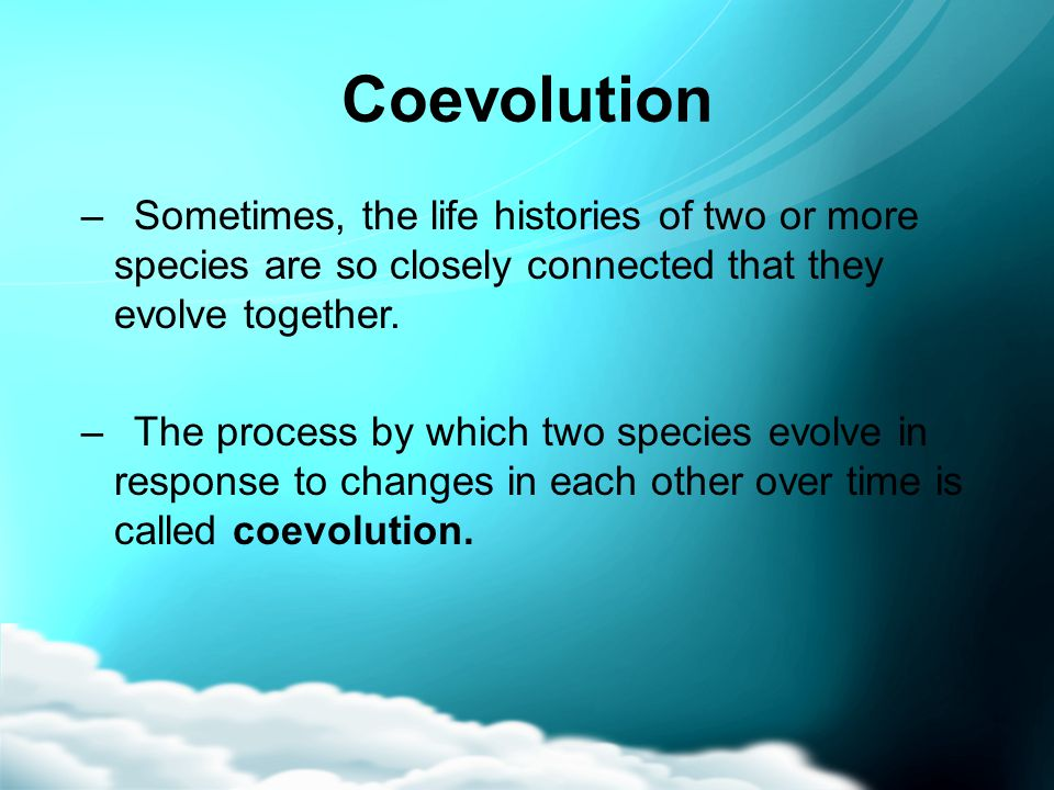 Coevolution Sometimes, the life histories of two or more species are so closely connected that they evolve together.