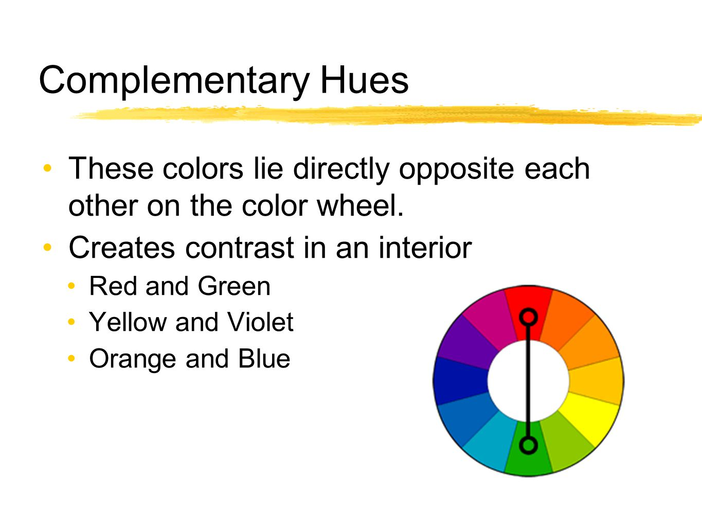 Complementary Hues These colors lie directly opposite each other on the color wheel. Creates contrast in an interior.