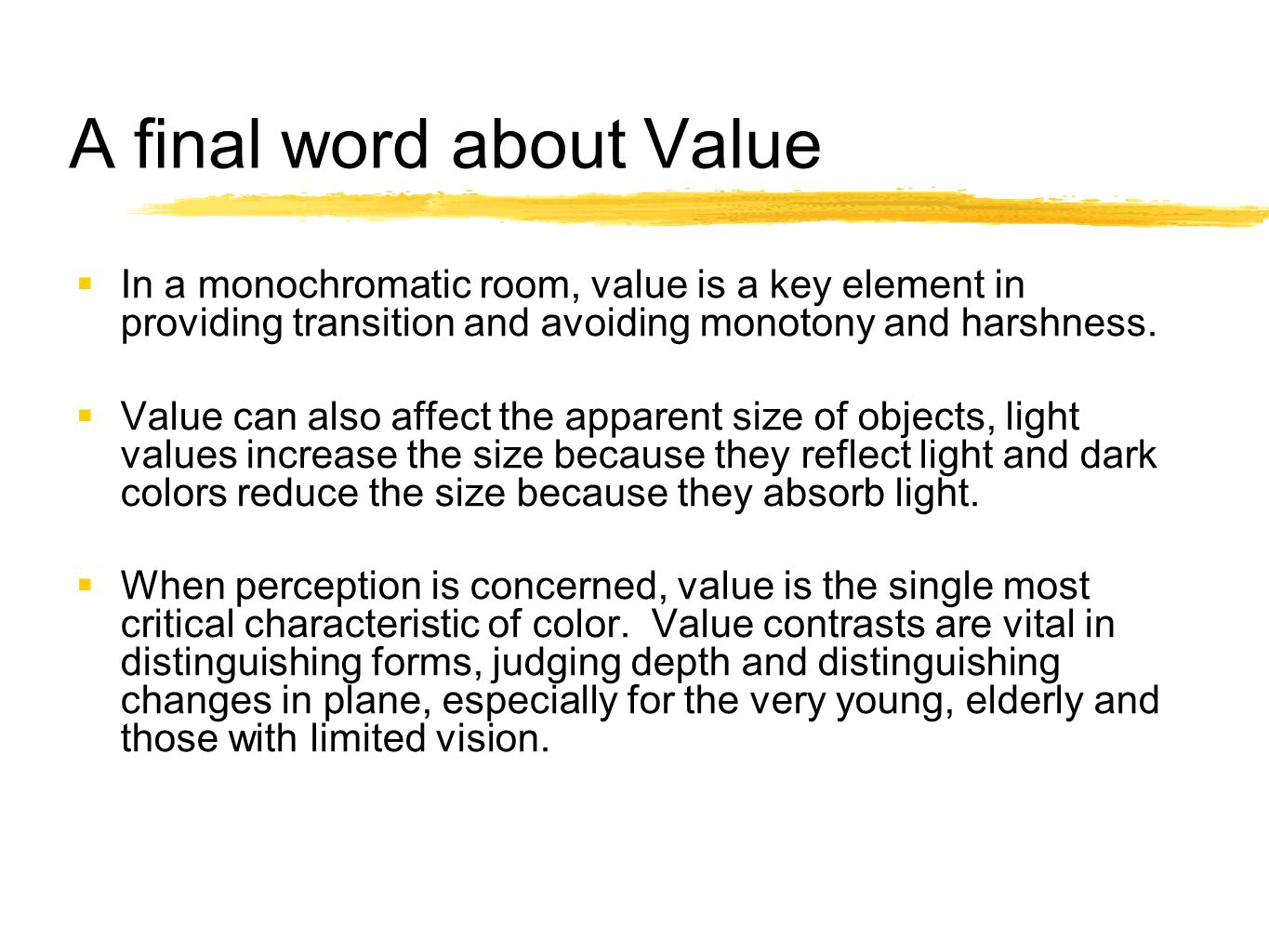 A final word about Value