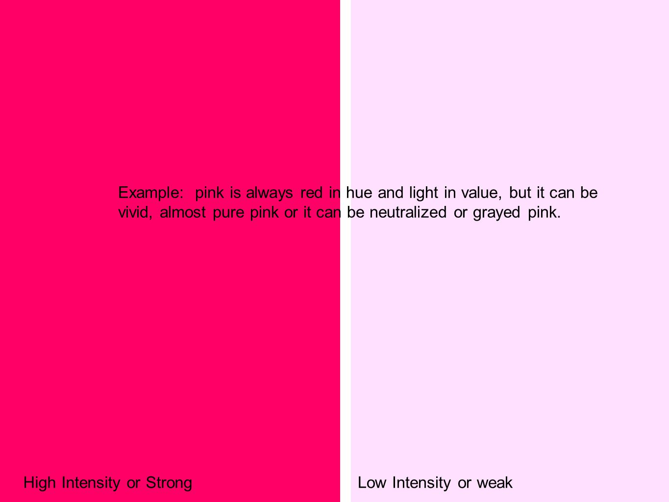 Example: pink is always red in hue and light in value, but it can be vivid, almost pure pink or it can be neutralized or grayed pink.