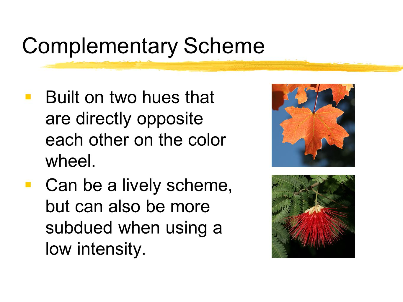 Complementary Scheme Built on two hues that are directly opposite each other on the color wheel.