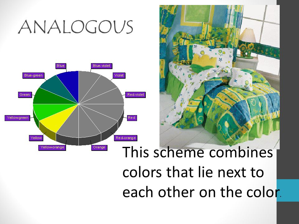 ANALOGOUS This scheme combines colors that lie next to each other on the color.
