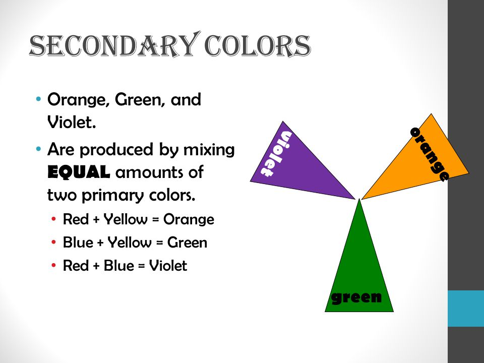 SECONDARY COLORS Orange, Green, and Violet.