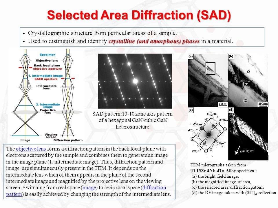 Selected Area Diffraction (SAD)