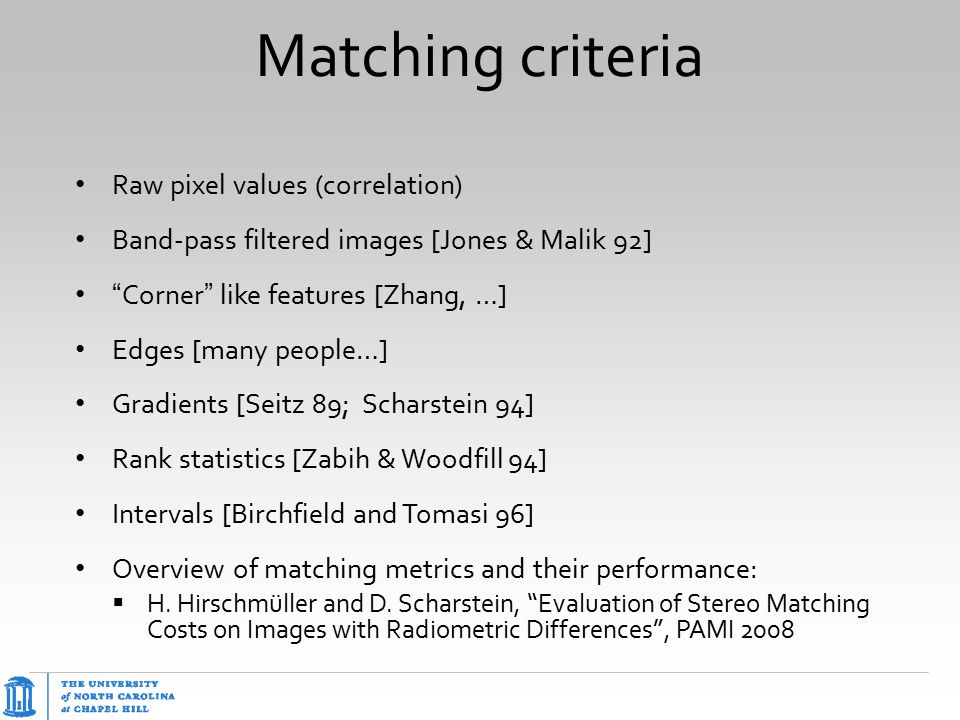 Matching criteria Raw pixel values (correlation)