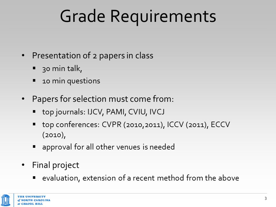 Grade Requirements Presentation of 2 papers in class